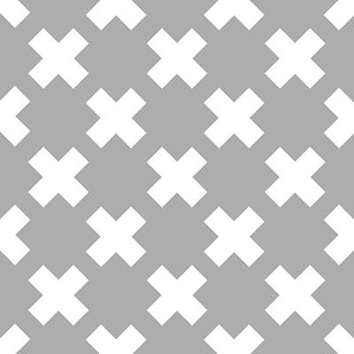 Royalty-Free and Rights-Managed Images - X Cross Pattern 06 - Saint Andrews Cross - Saltire - Gray and White by Studio Grafiikka