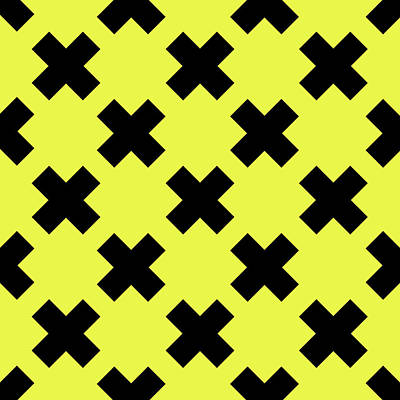 Royalty-Free and Rights-Managed Images - X Cross Pattern 07 - Saint Andrews Cross - Saltire - Black and Yellow by Studio Grafiikka