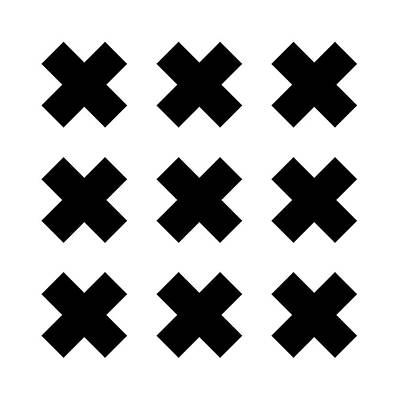 Digital Art Royalty Free Images - X Cross Pattern - Saint Andrews Cross - Saltire 05 - Black and White Royalty-Free Image by Studio Grafiikka