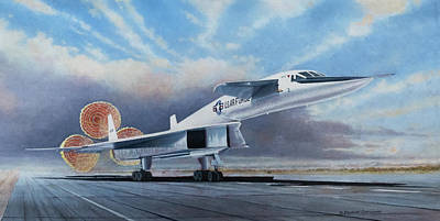 Painting Rights Managed Images - XB-70A Landing Royalty-Free Image by Douglas Castleman