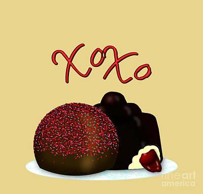Digital Art - XOXO Valentine Bonbon and Dark Chocolate Covered Cherry by Colleen Cornelius