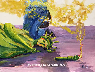 Painting - Yearning to breathe free by Roger Snell