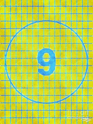 Romantic French Magazine Covers - Yellow and Blue Number 9  within a Ball Shape with a Backdrop that resembles a Football Net 3 by Douglas Brown