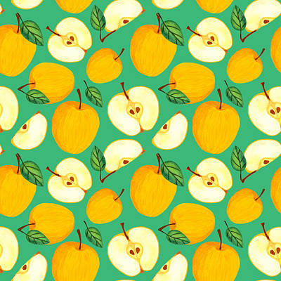 Royalty-Free and Rights-Managed Images - Yellow apple seamless pattern. Watercolor juicy golden apples with leaves and seeds on green pastel background. Fresh harvest illustration. Sliced garden fruit by Julien