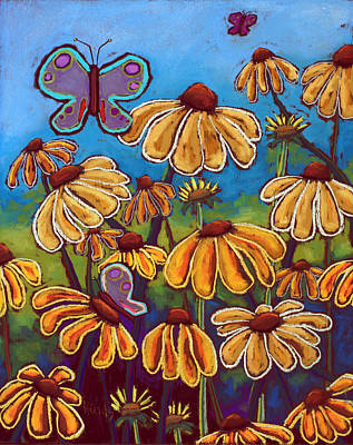 Abstract Stripe Patterns - Yellow Coneflowers by David Hinds