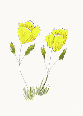Old Masters - Yellow Flower Sketch by Conni Schaftenaar