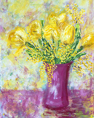 Painting - Yellow Flowers in Pink Vase by Kate Benzin