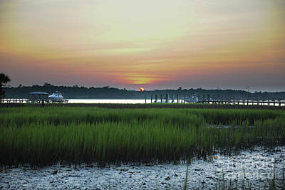 Photograph - Yellow Hues of Gold - Marsh Sunset - Wando River by Dale Powell