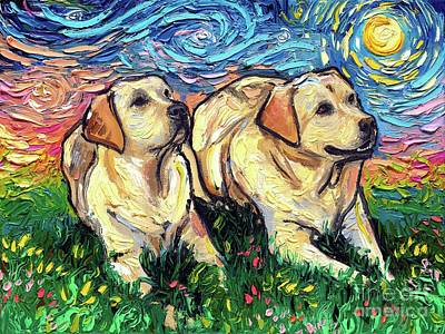 Painting - Yellow Labradors Night by Aja Trier