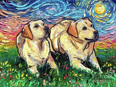 Painting - Yellow Labradors Night by Aja Trier