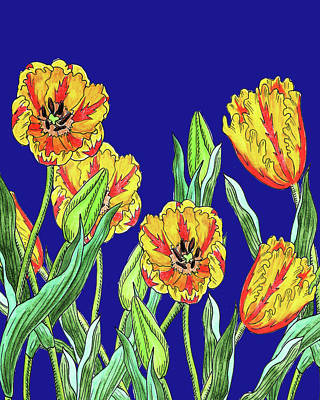 Royalty-Free and Rights-Managed Images - Yellow Parrot Tulips Blue Sky Botanical Flowers Watercolor  by Irina Sztukowski