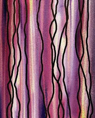 Royalty-Free and Rights-Managed Images - Yellow Purple Glow and Lines Abstract Decorative Art  by Irina Sztukowski