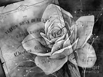 Food And Flowers Still Life Rights Managed Images - Yellow Rose of Texas in Black and White Royalty-Free Image by Hailey E Herrera
