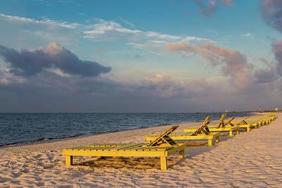 Photograph - Yellow Wood Lounge Chairs II by Judy Garrard
