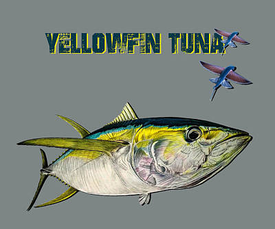 Animal Portraits Royalty Free Images - Yellowfin tuna 2 flying fish Royalty-Free Image by Paul Kyriakides