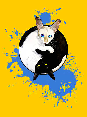 Royalty-Free and Rights-Managed Images - Yin Yang Cats by Canine Caricatures Custom Merchandise