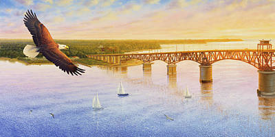 Painting - York River Bridge - Eagle by Guy Crittenden