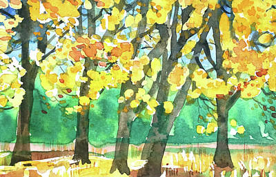 Target Threshold Watercolor - Yosemite Autumn Colors. by Luisa Millicent