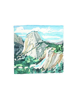 Black And White Ink Illustrations - Yosemite Day by Luisa Millicent