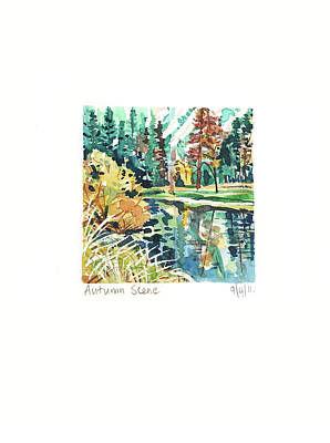 Target Threshold Watercolor - Yosemite in the Fall by Luisa Millicent
