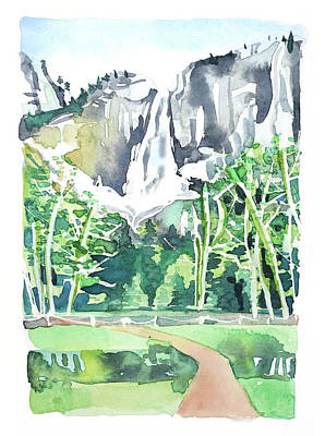 Target Threshold Watercolor - Yosemite Falls #3 by Luisa Millicent
