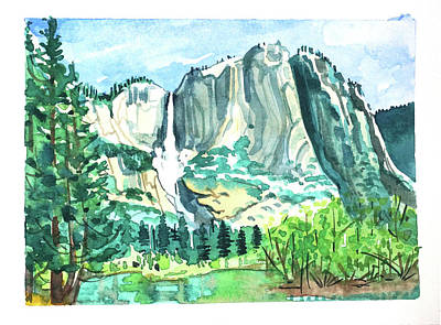 Target Threshold Watercolor - Yosemite Falls #4 by Luisa Millicent