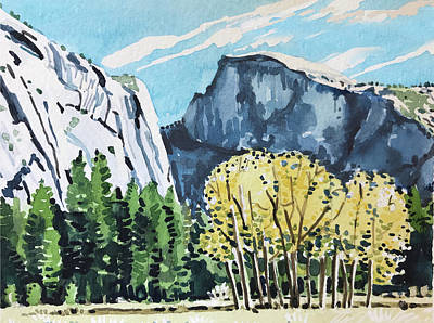 Vintage Uk Posters - Yosemite half Dome by Luisa Millicent