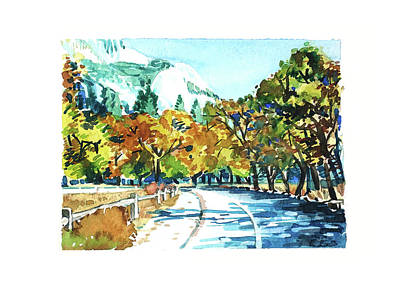 Black And White Ink Illustrations - Yosemite Valley by Luisa Millicent