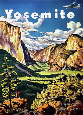 Drawings Royalty Free Images - Yosemite Valley Travel Poster 1949 Royalty-Free Image by United Airlines