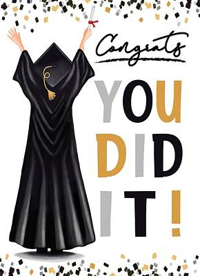 Pop Art Rights Managed Images - You Did It Graduation Card Royalty-Free Image by Elizabeth Robinette Tyndall