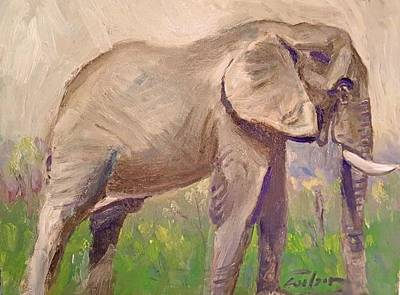 Painting - Young African Elephant by Ron Wilson
