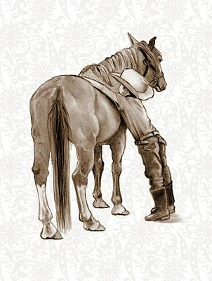 Animals Drawings - Young Boy and His Horse by Joyce Geleynse