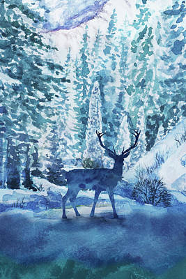 Royalty-Free and Rights-Managed Images - Young Buck In The Winter Forests Watercolor  by Irina Sztukowski