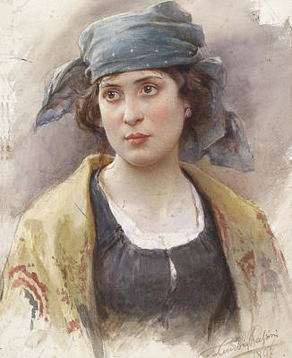 Sean - Young Woman with Green Headscarf by Ludwig Johann Passini