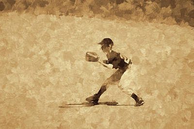 Uncle Sam Posters Rights Managed Images - Youth Baseball Fielder Abstract Royalty-Free Image by Francis Sullivan