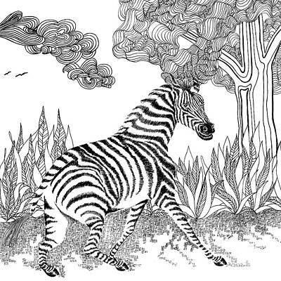 Animals Drawings - Zebra by Jennifer Wheatley Wolf