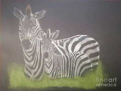 Drawing - Zebra Mother and child reunion by Chris Van der Merwe