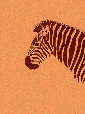 Royalty-Free and Rights-Managed Images - Zebra Print - Scandinavian Nursery Decor - Animal Friends - For Kids Room - Minimal by Studio Grafiikka