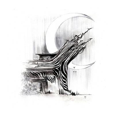 Animals Drawings - Zebratree by Alex Ruiz