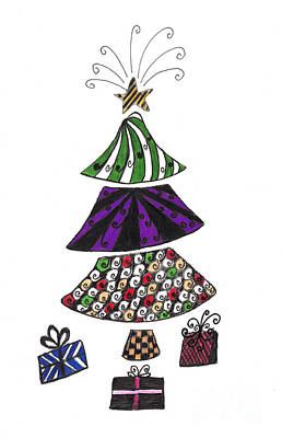 Drawings Royalty Free Images - Zentangle Christmas Tree Royalty-Free Image by Conni Schaftenaar