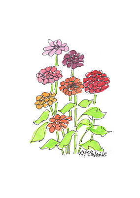 Bicycle Patents - Zinnias Flowers FA051 Watercolor by Kathleen McElwaine by Kathleen McElwaine