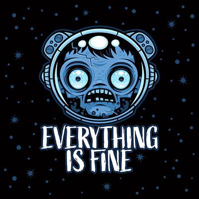 Digital Art - Zombie Astronaut Is Fine by John Schwegel
