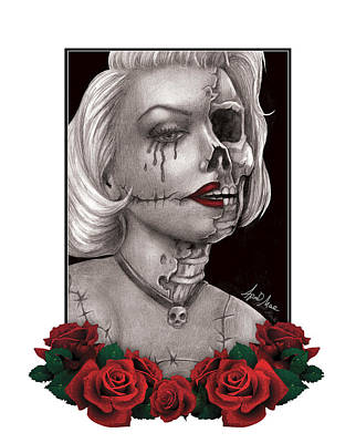 Drawing - Zombie Marilyn Monroe by April Mae