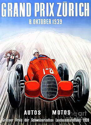 Drawings Royalty Free Images - Zurich 1939 Grand Prix Royalty-Free Image by Zurich