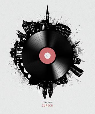 Watercolor Alphabet - Zurich Skyline Vinyl by Bekim M