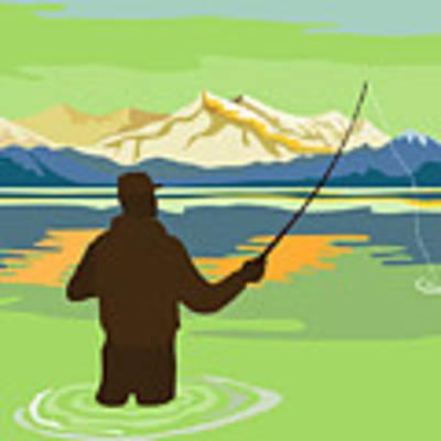 Fly Fisherman Casting Art Print by Aloysius Patrimonio