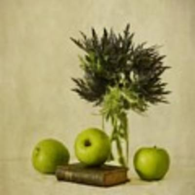 Green Apples And Blue Thistles Art Print by Priska Wettstein