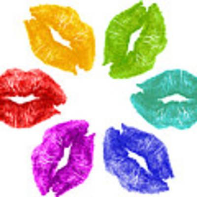 Lipstick Kisses In Color Art Print