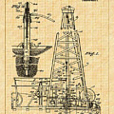 1911 Oil Well Patent Art Print by Barry Jones