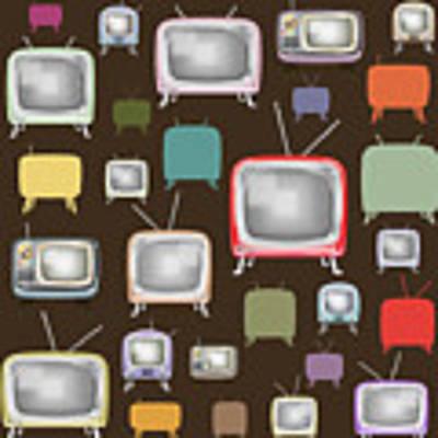 retro TV pattern  Art Print